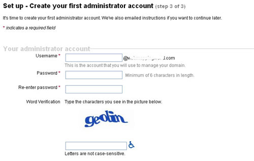 Create administrator account